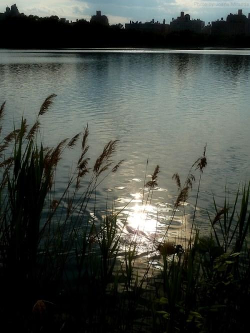 reservoir at dusk