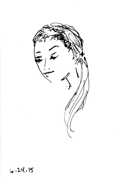 quick head scribble sketch by Joana Miranda