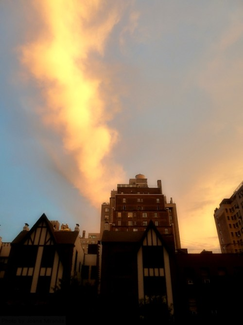sunset in the clouds over Manhattan