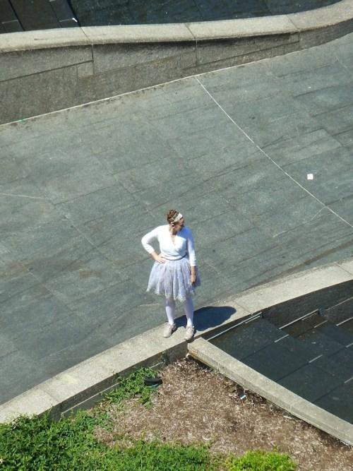 woman in tutu waiting