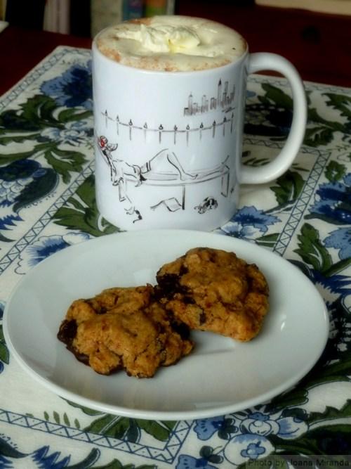 chocolate oatmeal cookies and Joana Miranda Studio mug