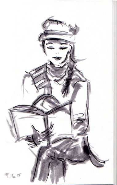 Girl in cap reading