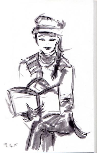Girl in cap reading