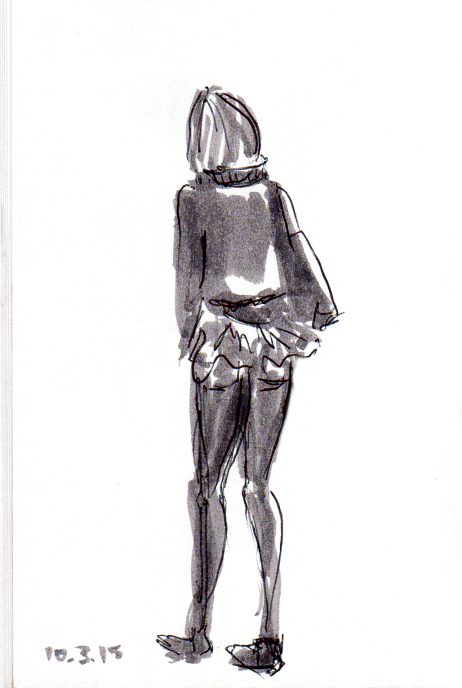 Sketch of woman with peplum jacket
