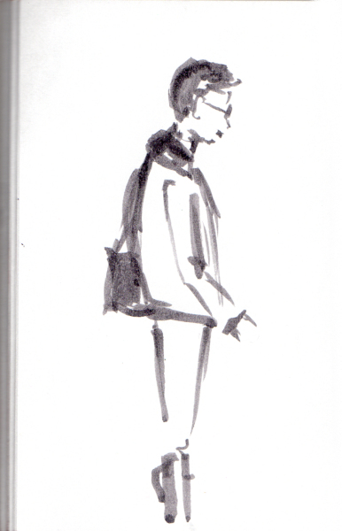 quick aquash sketch of man on the subway platform