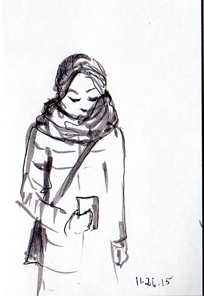 Sketch of woman bundled up against the cold