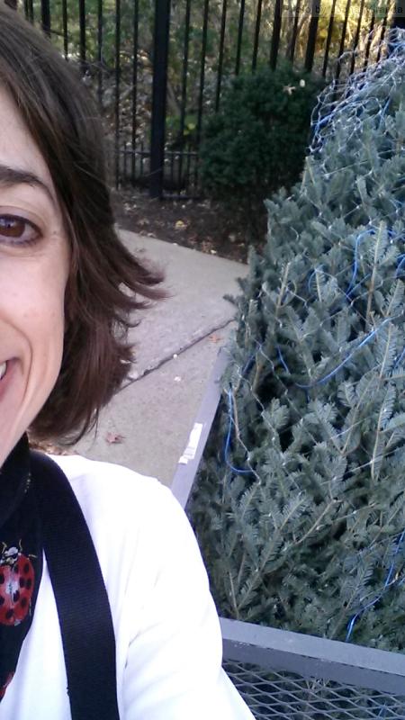 Joana with the Christmas tree