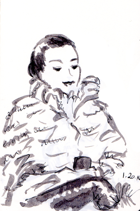 Quick sketch of woman in fur coat looking at her iphone