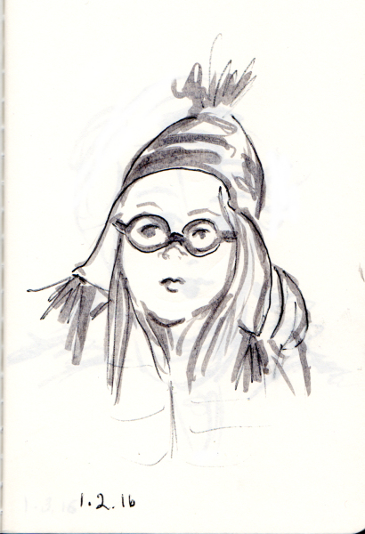 quick sketch of young girl with round glasses