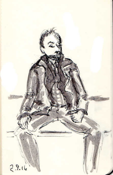 Quick sketch of man sitting on the subway