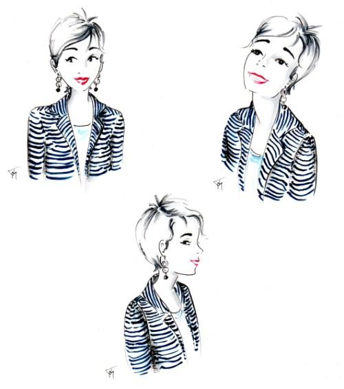 Three cartoon head shots