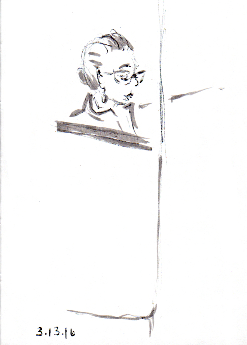 Quick sketch of woman in cat eye glasses