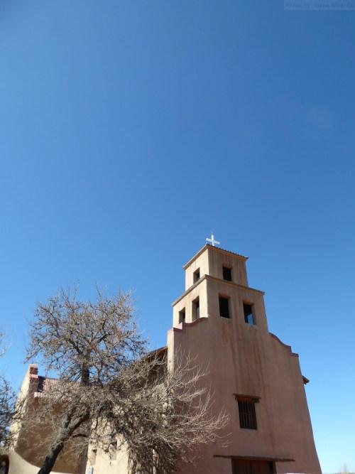 Santa Fe church with blue sky