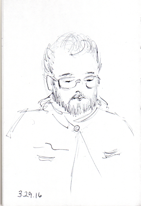 quick pen sketch of man with glasses