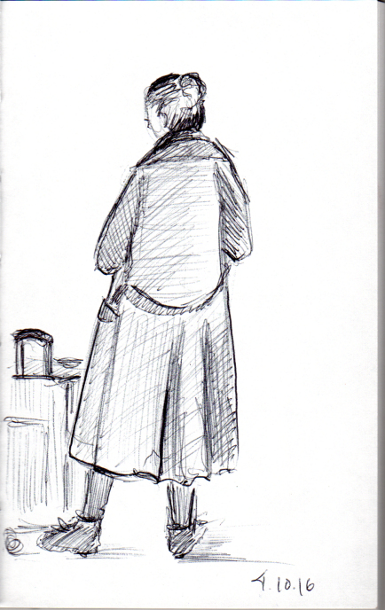 Quick sketch of woman in camel hair coat
