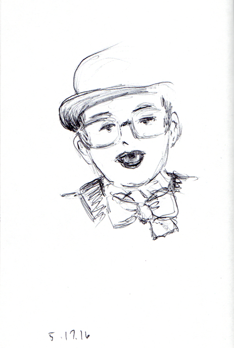 Funny sketch of man in a top hat
