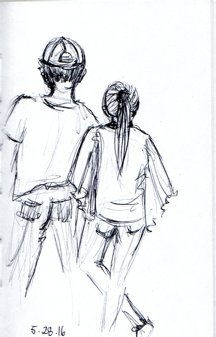 Loving couple waiting for the train
