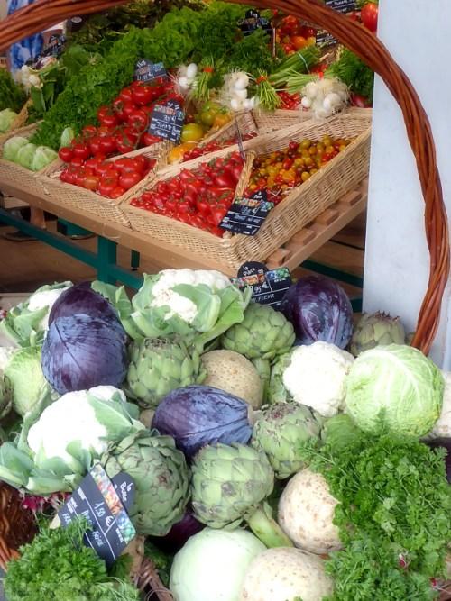 Beautiful veggie display in the St. Germaine area