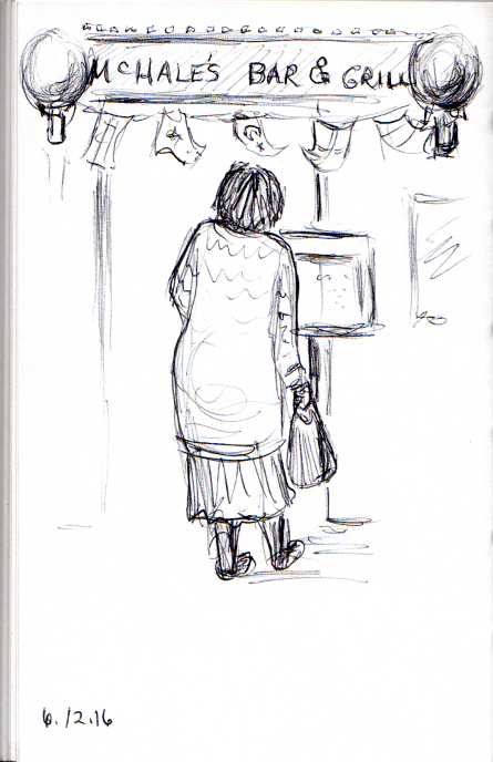 Sketch of woman reading the menu outside a restaurant