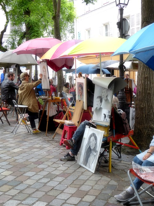 Painters on the square in Montmartre