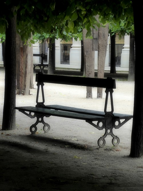 solitary park bench in Paris