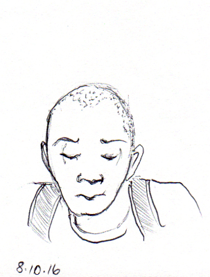 Quick sketch of African American man on the subway