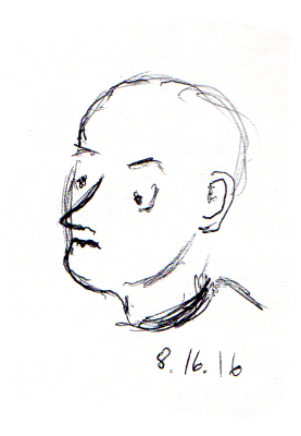 Quick sketch of bald man on the subway