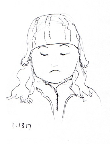 quick-ballpoint-pent-sketch-of-woman-with-hat-with-ear-flaps