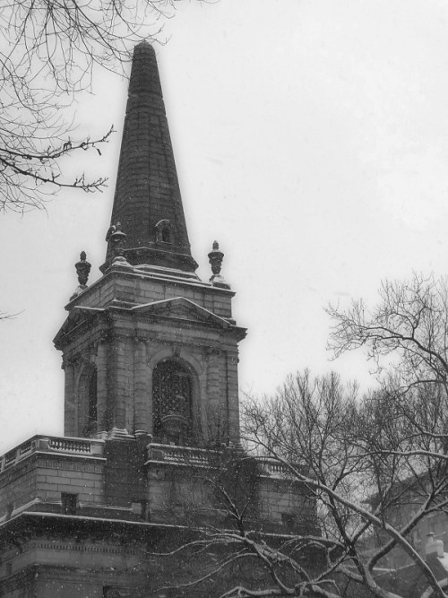 black-and-white-photo-of-church-steeple-on-central-park-west