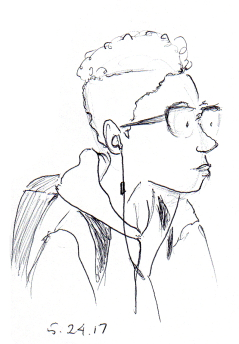 Quick cartoon sketch of young African American boy, by Joana Miranda