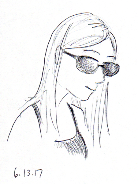 Quick pen sketch of girl wearing tank and sunglasses from my sketchbook, by Joana Miranda