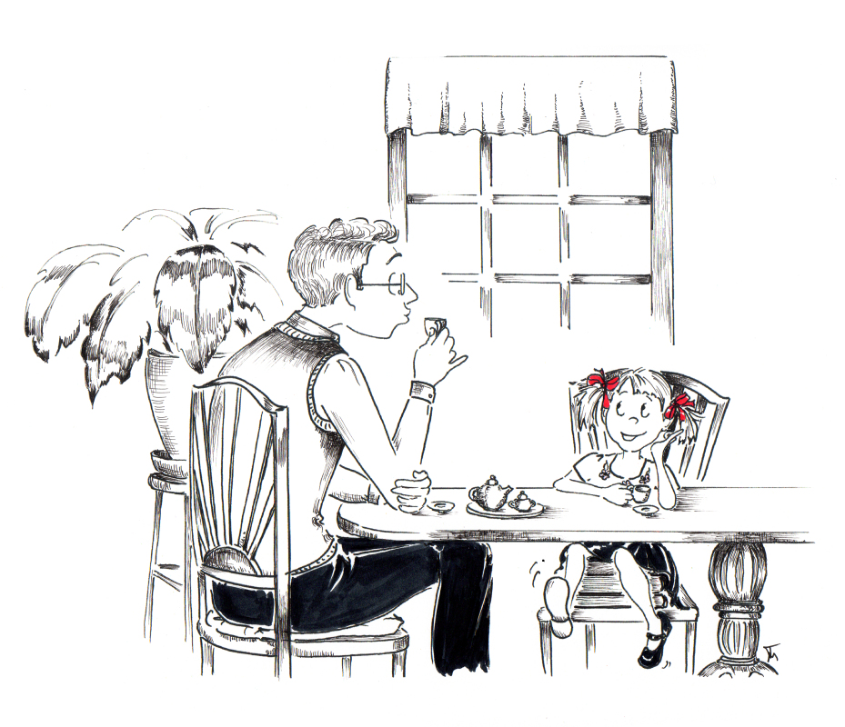 Tea for Two whimsical father and daughter illustration by Joana Miranda