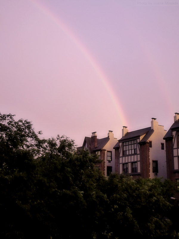 Photo of rainbow over the Upper West Side, taken by Joana Miranda