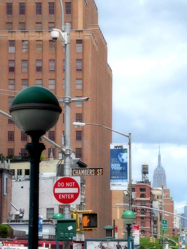 Photo of street signs in lower Manhattan, taken by Joana Miranda