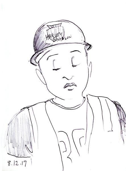 Quick ballpoint pen sketch of sleepy construction worker on the subway, by Joana Miranda
