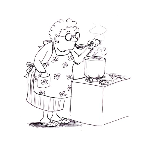Funny cartoon illustration of old lady cooking, by Joana Miranda