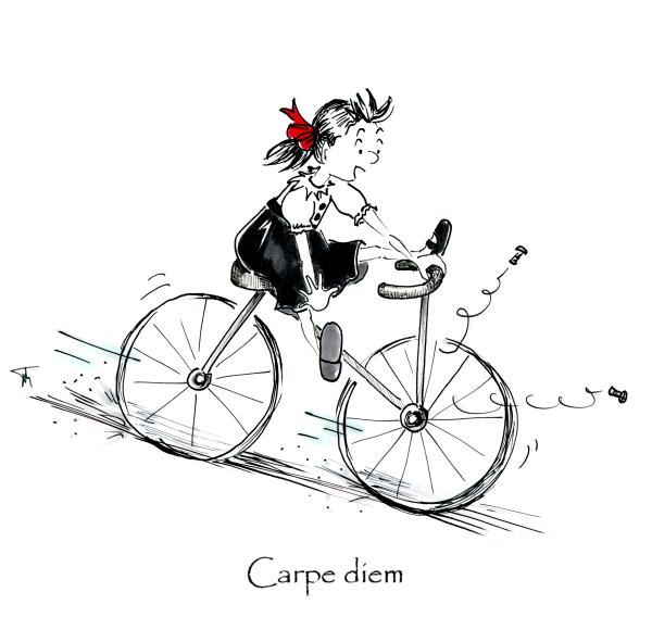 Pen and ink cartoon illustration of little girl riding a bike, by Joana Miranda