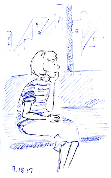 Ballpoint pen sketch of young woman sitting on a bench, by Joana Miranda