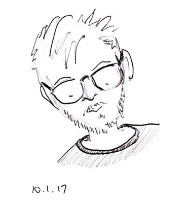 Funny ball point pen quick sketch of man with scraggly hair, beard and glasses, by Joana Miranda
