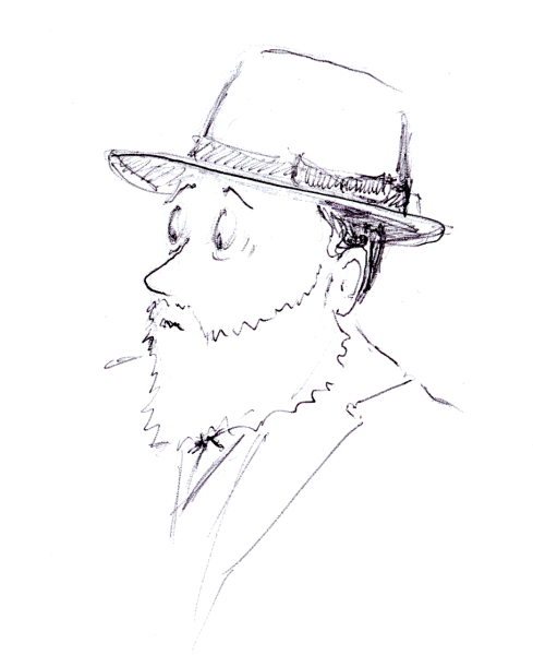 Quick ballpoint pen sketch of Jewish man with a hat, by Joana Miranda