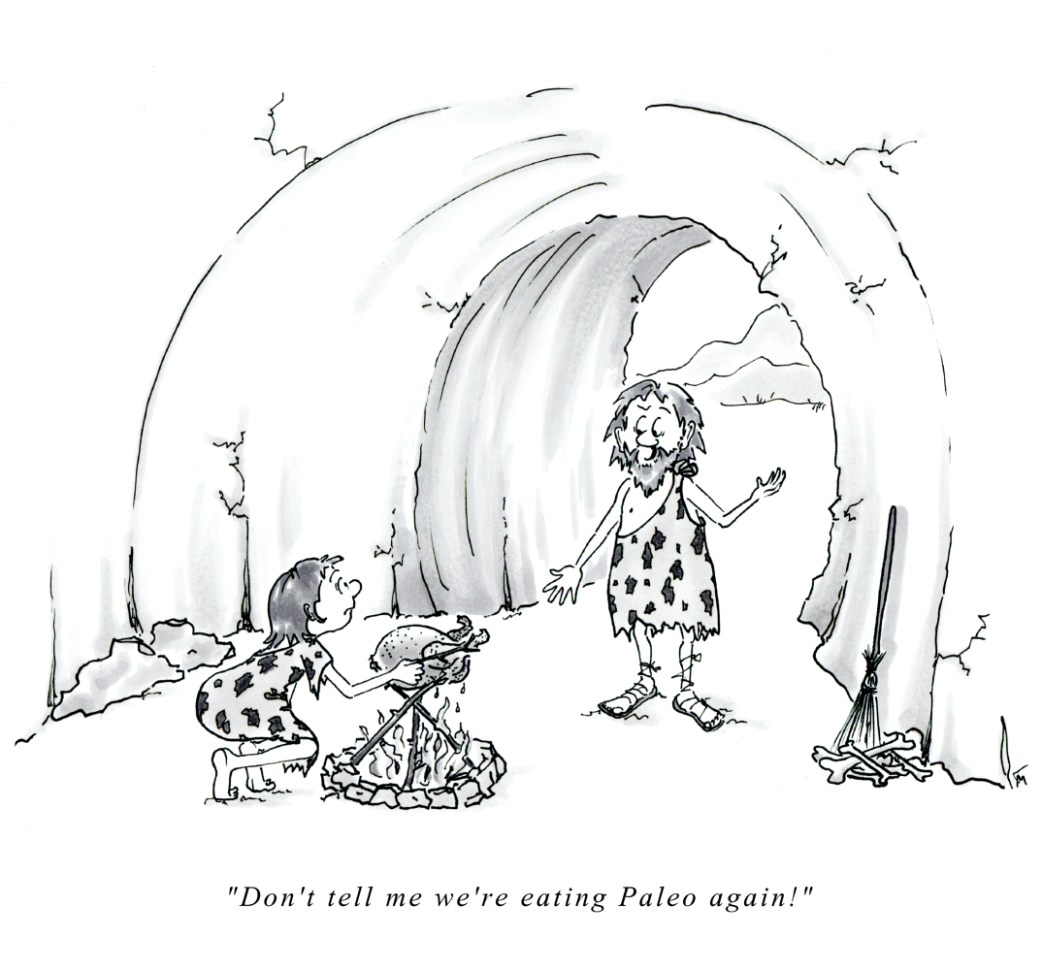 Paleo caveman cartoon by Joana Miranda