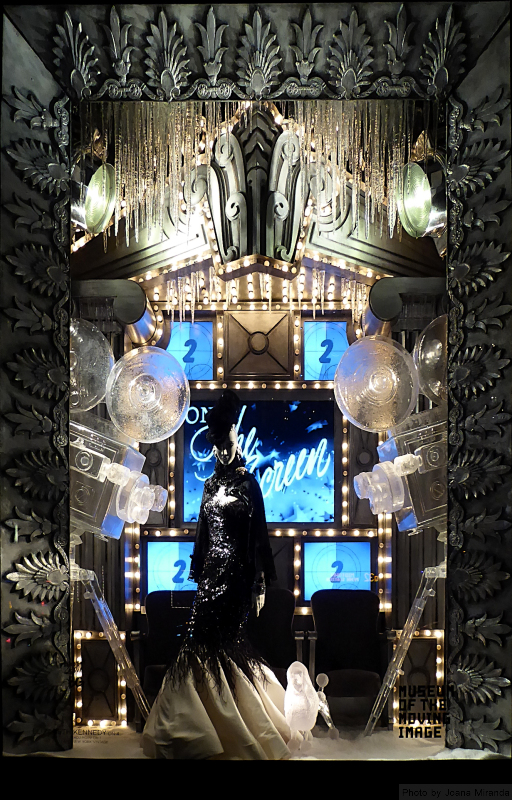 Photo of Museum of the Moving Image holiday window display at Bergdorf Goodman's, taken by Joana Miranda