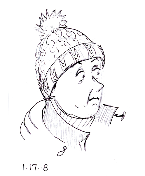 Quick ballpoint pen sketch of anxious looking woman with knit cap, by Joana Miranda