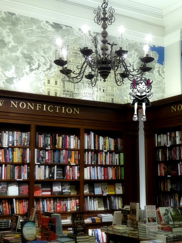 Photo of Rizzoli's bookstore with Jo reading, cartoon/photo by Joana Miranda