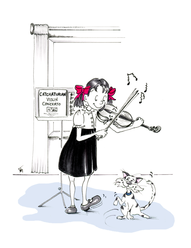"""Catchaturian Concerto"" Little Violinist with Cat cartoon by Joana Miranda"