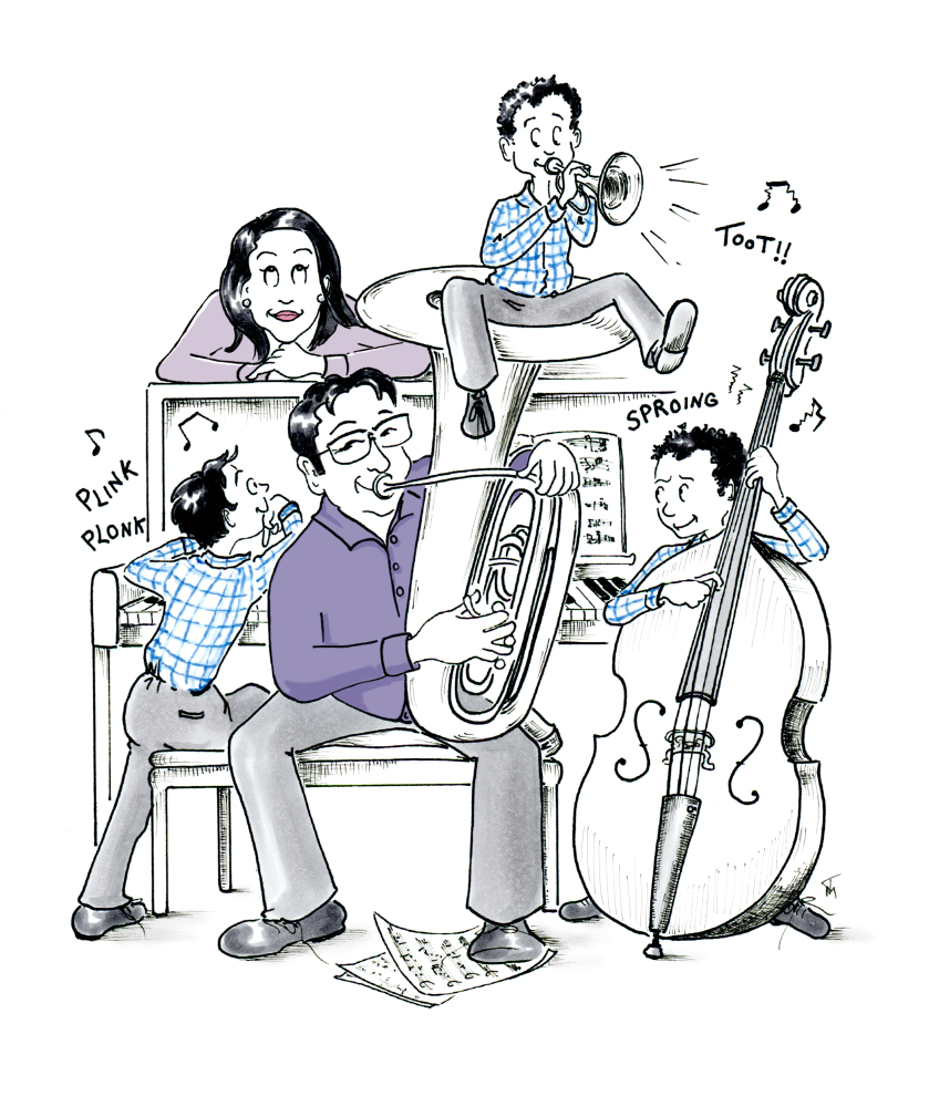 Custom musician illustration cartoon family portrait by Joana Miranda