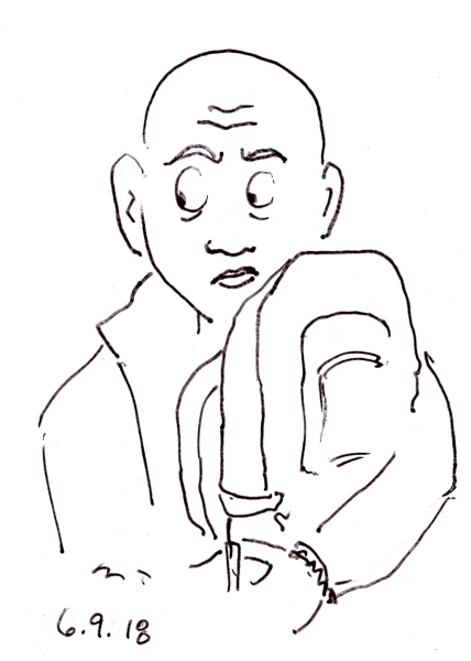 Pen sketch of anxious looking bald man