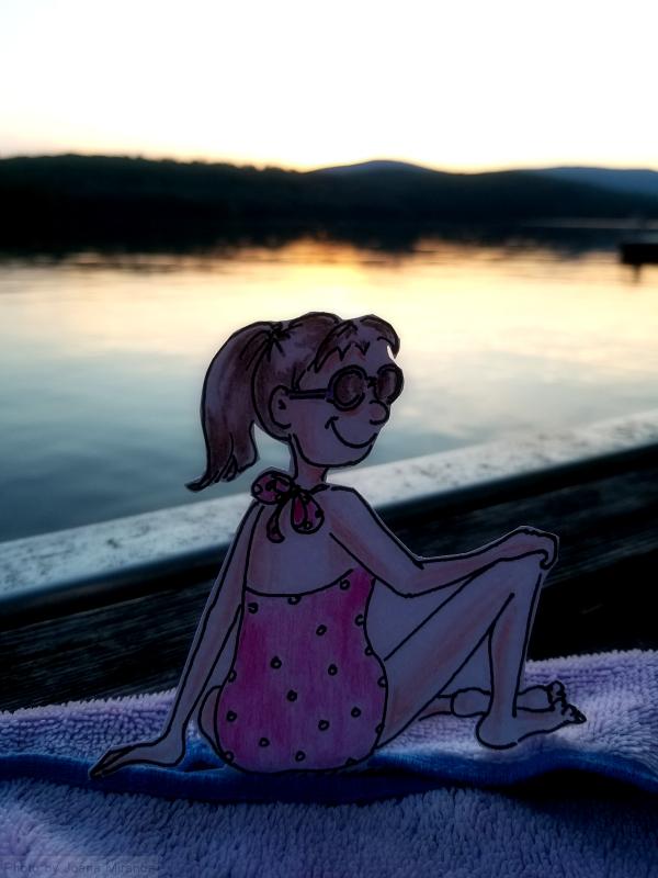 Cartoon bathing beauty girl sitting at Goose Pond by Joana Miranda