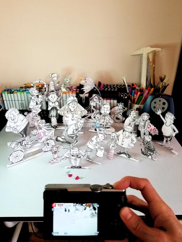 """Photo of my """"paper doll"""" cartoons, by Joana Miranda"""