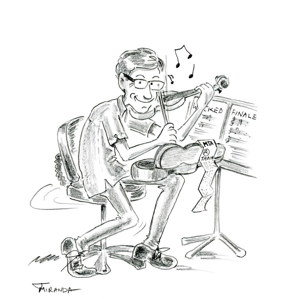 Pencil drawing of cartoon violinist by Joana Miranda